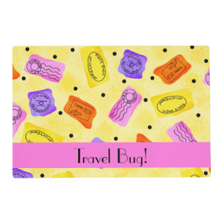 Vintage Yellow Passport Stamps Travel Bug Words Laminated Place Mat