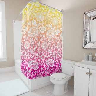 Vintage Yellow Pink Daisy Sketch Shower Curtain