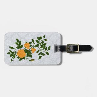 Vintage Yellow Rambling Rose Luggage Tag