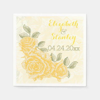 Vintage yellow roses floral wedding paper napkin