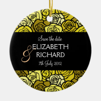 Vintage Yellow roses 'Save the date' Ornament