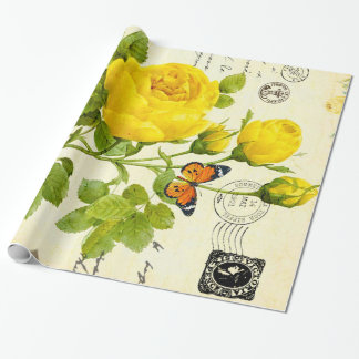 vintage yellow roses wrapping paper
