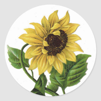 Vintage Yellow Sunflower Graphic Flower Sticker