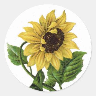 Vintage Yellow Sunflower Graphic Flower Sticker