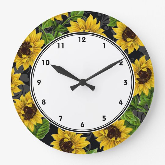 Vintage yellow sunflowers on black wall clock - Wanduhr sunflower ...