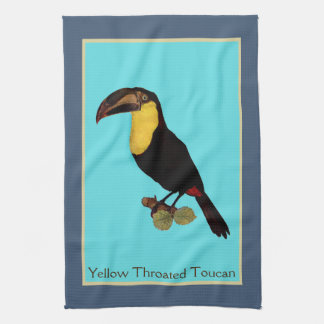 Vintage Yellow Throated Toucan bird towel. Tea Towel