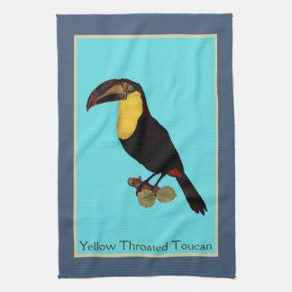 Vintage Yellow Throated Toucan bird towel. Towel
