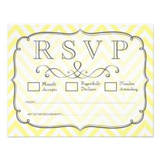 Vintage Yellow White Chevron Wedding RSVP Cards