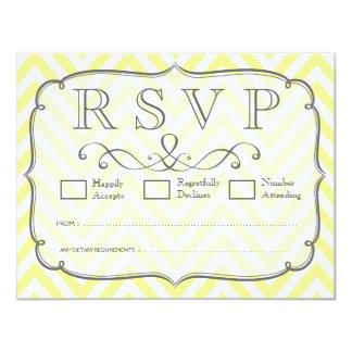 Vintage Yellow & White Chevron Wedding RSVP Cards 11 Cm X 14 Cm Invitation Card