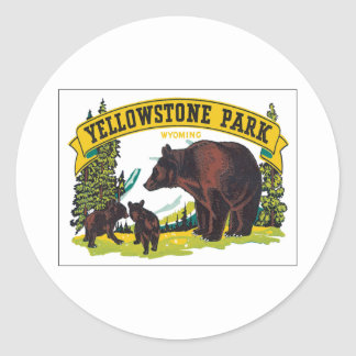 Vintage Yellowstone Park Wyoming USA Round Stickers