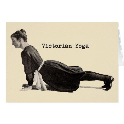 Vintage Yoga Woman Doing Upward Facing Dog Pose Greeting Card