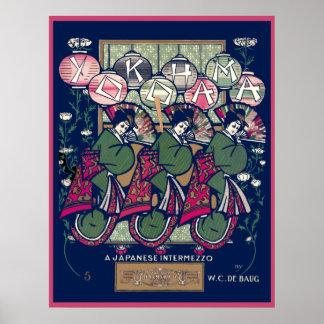 Vintage Yokohama Music Sheet Posters