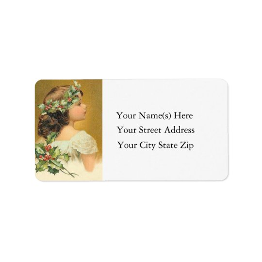 Vintage Young Girl With Holly Christmas Label