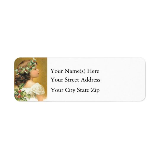 Vintage Young Girl With Holly Christmas Return Address Label