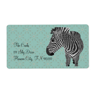 Vintage Zebra Blue Avery Label Shipping Label