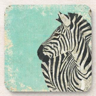 Vintage Zebra Blue  Coaster