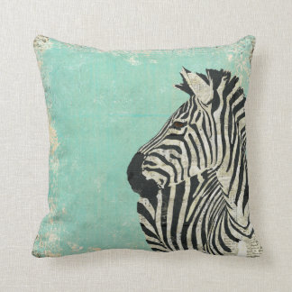 Vintage Zebra Blue  MoJo Pillow Throw Cushion