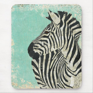 Vintage Zebra Blue Mousepad