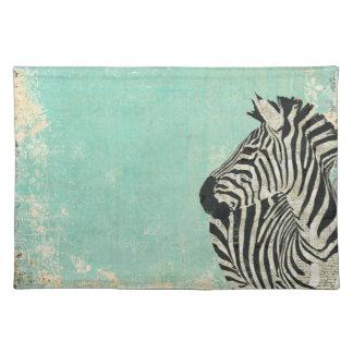 Vintage Zebra Blue  Placemat
