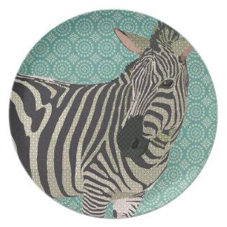 Vintage Zebra Blue Plate