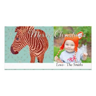 Vintage Zebra Christmas Photo Card