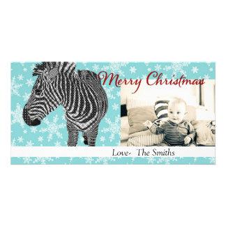 Vintage Zebra II Christmas Photo Card