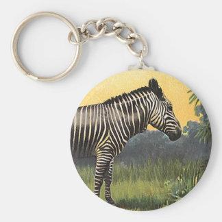 Vintage Zebra in the African Savannah, Wild Animal Key Ring