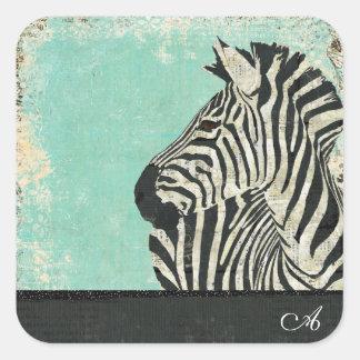 Vintage Zebra Monogram  Sticker