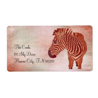 Vintage Zebra Pink Avery Label Shipping Label