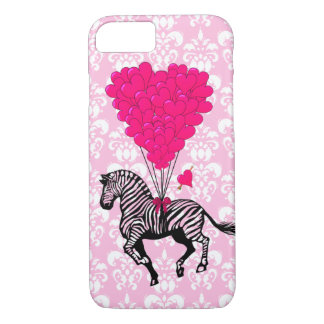 Vintage zebra & pink heart balloons iPhone 7 case