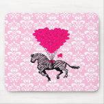 Vintage zebra & pink  heart balloons mousemat