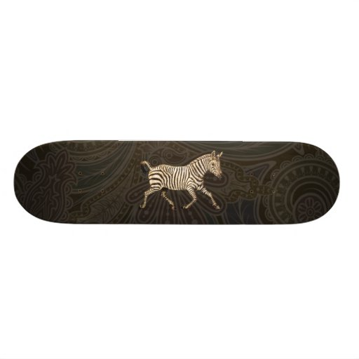 Vintage zebra running with paisley design skate decks