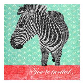 Vintage Zebra Turquoise Red 13 Cm X 13 Cm Square Invitation Card