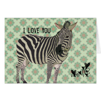 Vintage Zebra Valentine Greeting Card
