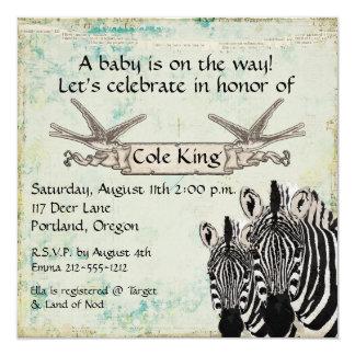 """Vintage Zebras  Baby Invitation 5.25"""" Square Invitation Card"""