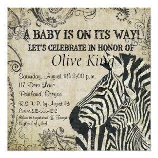 Vintage Zebras Baby Shower Invitation