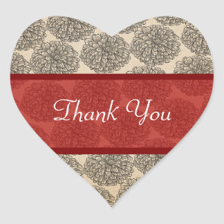 Vintage Zinnia Thank You Stickers, Red Heart Sticker