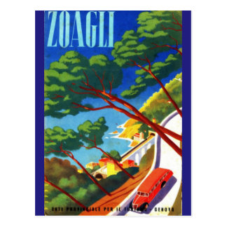 Vintage Zoagli Genova Italy European Tourism Postcard