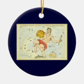 Vintage Zodiac, Astrology Aquarius Constellation Christmas Ornament