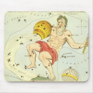 Vintage Zodiac, Astrology Aquarius Constellation Mouse Pad