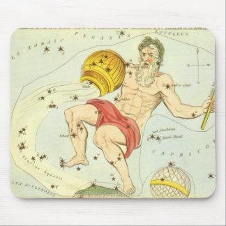 Vintage Zodiac, Astrology Aquarius Constellation Mouse Pad
