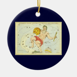 Vintage Zodiac, Astrology Aquarius Constellation Round Ceramic Decoration