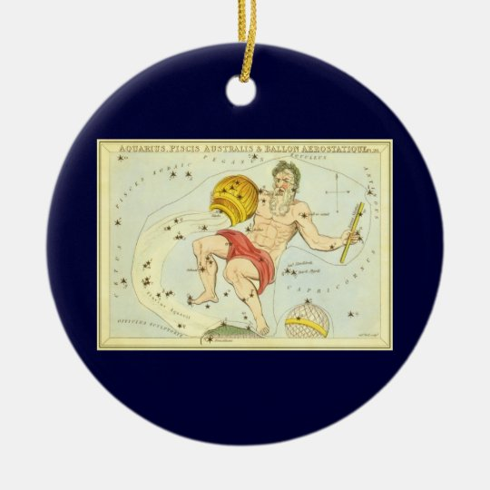 Vintage Zodiac, Astrology Aquarius Constellation Round Ceramic Decoration