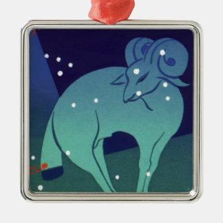 Vintage Zodiac, Astrology Aries Ram Constellation Square Metal Christmas Ornament