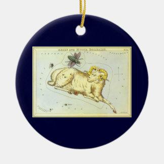 Vintage Zodiac, Astrology Aries Ram Constellation Round Ceramic Decoration