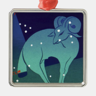 Vintage Zodiac, Astrology Aries Ram Constellation Silver-Colored Square Decoration