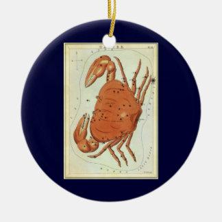 Vintage Zodiac Astrology Cancer Crab Constellation Round Ceramic Decoration