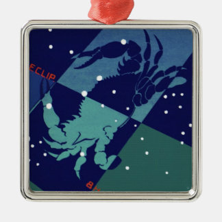 Vintage Zodiac Astrology Cancer Crab Constellation Silver-Colored Square Decoration