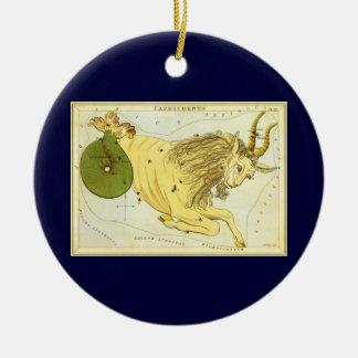 Vintage Zodiac, Astrology Capricorn Constellation Round Ceramic Decoration