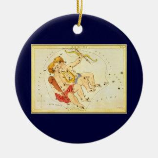 Vintage Zodiac Astrology Gemini Twin Constellation Round Ceramic Decoration